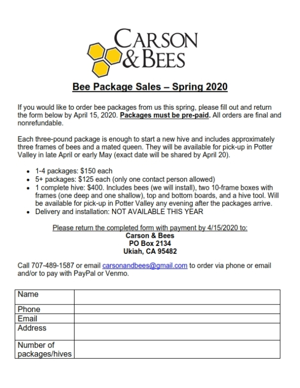 2020 Carson and Bees order form - bee packages_001